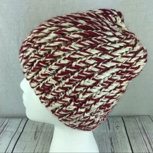 Accessories - Women's homemade maroon cream hat ponytail hole